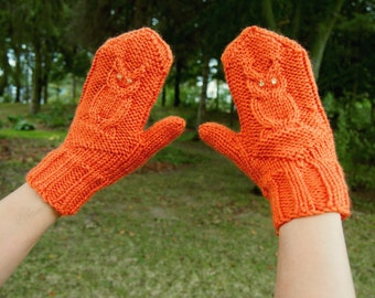 Knit Owl Mittens with Sequins - Adorable Orange Knitted Mittens - Vegan Knit Mitts with Owls - Orange Owl Mitts - Vegan Mittens