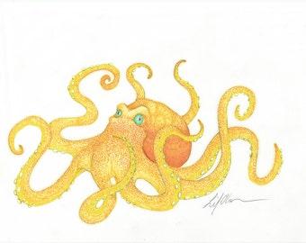 Octopus, Octopus Drawing, Octopus Picture, Tattoo, Orange Octopus, Yellow Octopus, Sea Creature, Cephalopod, printable, Print, Birthday gift