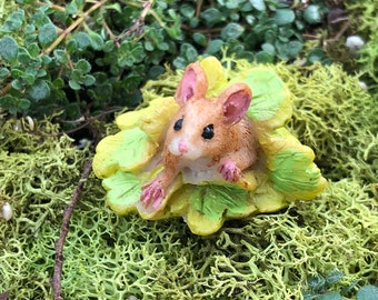 Miniature Mouse Figurine, Mini Mouse Under Leaves, Fairy Garden Accessory, Home & Garden Decor, Shelf Sitter, Topper, Gift