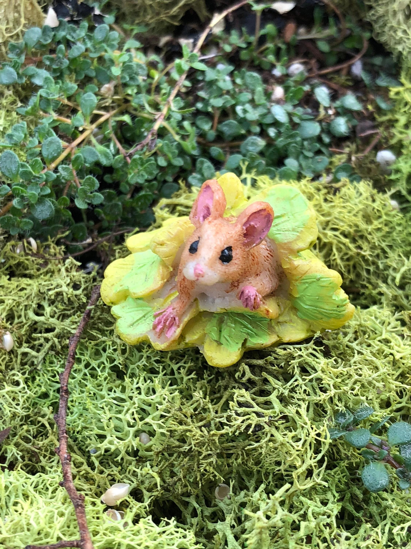 Miniature Mouse Figurine, Mini Mouse Under Leaves, Fairy Garden ...