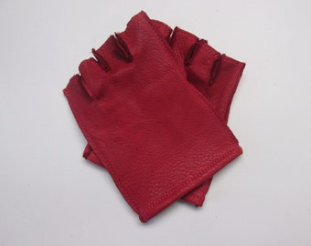 Red Deerskin Leather Fingerless Gloves - Made in USA