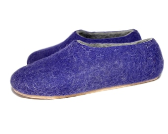 Ultra Violet Felted Slippers Clogs Wool Slippers, Wool Blend Felt New Mom House Shoes, Womens Slippers Minimalist Shoes Warm House Slippers