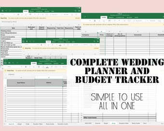Wedding Planner & Budget Tracker Spread sheet - Simple to use