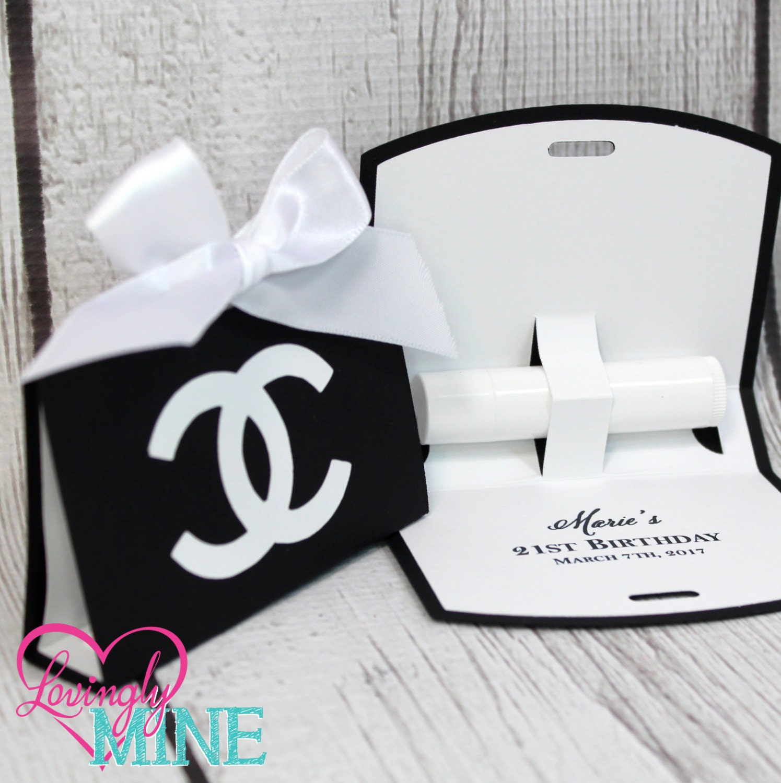 Lip Balm Holder Favor Bags Little Fashionista Black & White