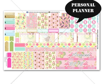 Flamingo MONTHLY Planner Kit / Personal Planner Stickers / Personal Planner Kit / Monthly Sticker Kit #SQ00203-Personal