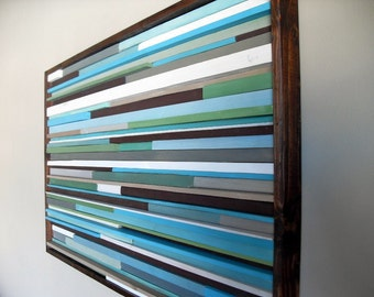 Abstract Painting on Wood - Wall Art from reclaimed wood - 18x30