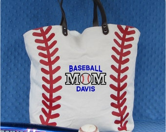 Baseball Mom Tote Bag, Team Mom Baseball gift, Monogrammed Baseball Tote Bag, Baseball Mom Gifts, Baseball Bag,  Baseball Valentine Gift