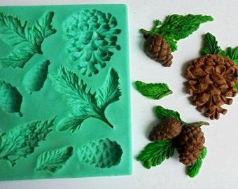 Silicone Mould / Pine branches 2 / Sugarcraft Cake Decorating Fondant / fimo mold