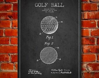 1908 Golf Ball Patent, Canvas Print,  Wall Art, Home Decor, Gift Idea