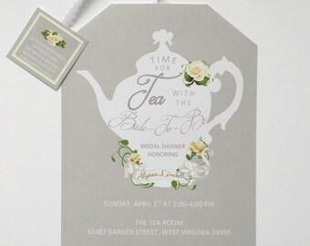 Self Printable Tea Party Shower Invitations Tea Pot Style