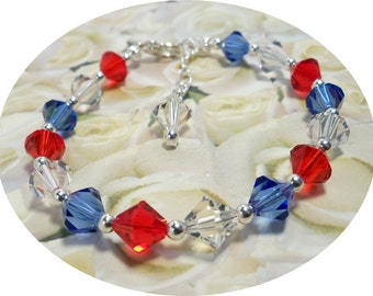 Deployment  Bracelet,  Red, White and Blue, American Pride, Nautical Bracelet, 4th of July, Crystal Bracelet, Austrian Crystal