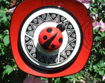Ladybug Dimensional Plateflower Yard Art, Close Out Sale