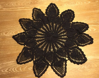 Handmade Classic Black Heart Doiley, Heart Crochet, Classic Chic Decor, Black Bohemian Tabletop, Gift for Her, Gifts for all Occasions, Chic