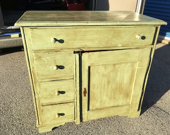 QUICK SALE ONLY! Primative Antique Kitchen Cabinet Cupboard 20d41w38h Green Paint Mixed Wood 4 Dovetail Drawers Shipping is not free