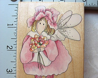 Stamps Happen Camellia Flower Fairy DESTASH Rubber Stamp, winged girl fairy stamp, used rubberstamp