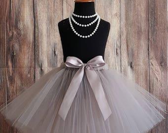 "Flower Girl Tutu, Wedding Tutu, Long Tutu Skirt, Girls Tutu, Toddler Tutu, Less Full Tutu, Grey Silver Tutu, Christmas Tutu, up to 20"" Tutu"