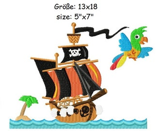 Embroidery Design Pirate Ship 5'x7' - DIGITAL DOWNLOAD PRODUCT