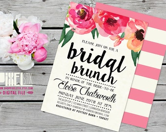 Trendy Watercolor Floral Bridal Brunch Invitation - CUSTOMIZABLE PRINTABLE INVITATION - Bridal Shower Invite, Pink, White, Black