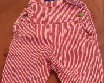 oshKosh  overalls - baby overalls - Red and White stripe - summer overalls - 4th of july -beach