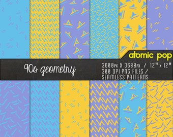 Funky 90s Squiggly Patterns Digital Paper Pack// Instant Download Decoupage Scrapbooking // Seamless Photoshop Patterns Tiled Backgrounds