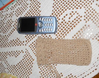 crocheted rope phone pouch