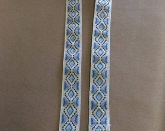 Removable handle ethnic gift for blue/ecru bag