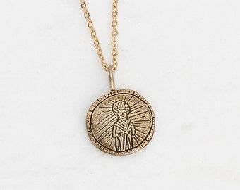 Saint Jude golden medallion necklace