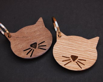 Cat Keyring, Cat Lover Gift, Birthday Gift, Unique Gift Idea, Wooden Etched, Laser Engraved, Simple Keyring, Wooden Keyring
