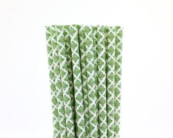 Green Damask Paper Straws-Green Straws-Damask Straws-Wedding Straws-Monster Ball Straws-Christmas Party Straws-Tea Party Straws-Paper Straws