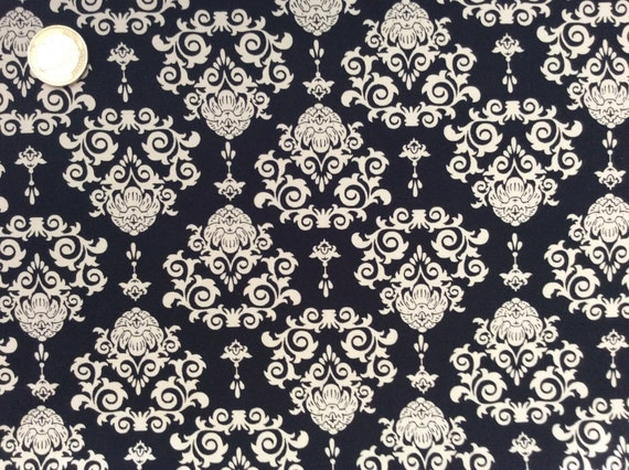 High quality cotton poplin dyed in Japan with Black and beige print