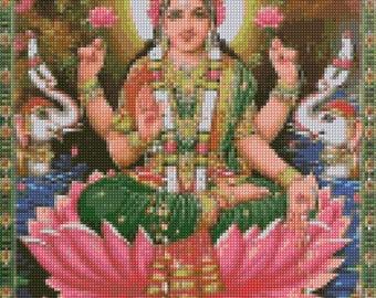 Lakshmi Hindu Goddess Cross Stitch pattern - PDF - Instant Download!