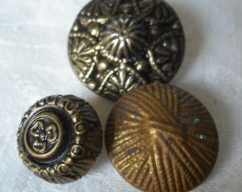 Lot of 3 VINTAGE Metal BUTTONS