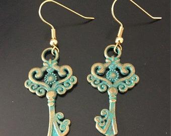 Patina Key Dangle Earrings, Patina Key Earrings