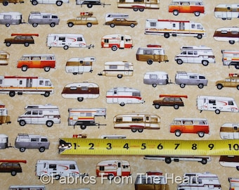 Parks & Recreation Camping Teardrop Travel Trailers on Tans BY YARDS QT Fabric
