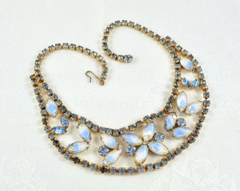 Art glass necklace, blue rhinestone choker, bridal necklace