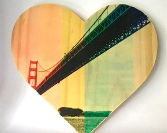 "Rainbow Pride: Sailor's View, Golden Gate Bridge, San Francisco CA - 9x8"" Heart Distressed Photo Transfer on Wood"