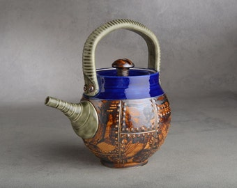 Teapot Sheet Metal Brown and Sapphire Teapot  by Symmetrical Pottery