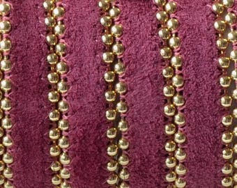 Leather flat with chains-beads - 10mm - leather back - purple and gold - by 20cm - CP1016POU693
