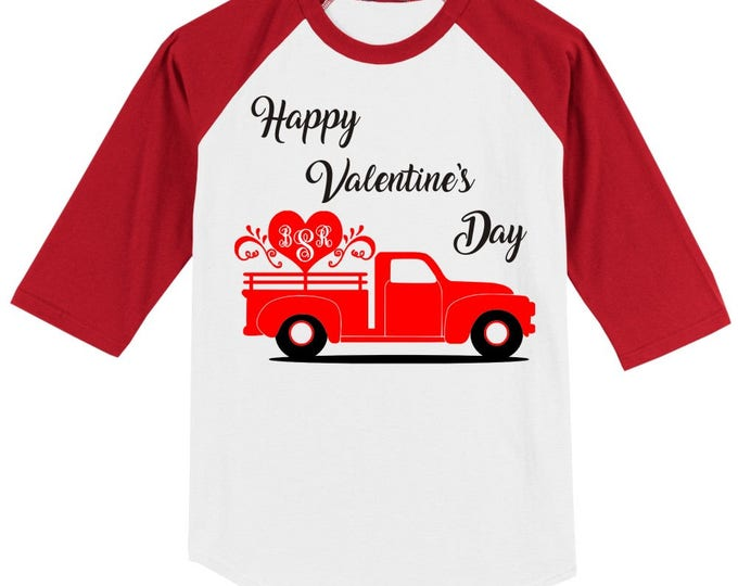 MONOGRAMMED Vintage Antique red truck Happy Valentines Day T shirt Raglan - 3/4 sleeves baseball style shirt - several sizes and colors