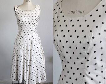 CLEARANCE: Vintage 1950s Polkadot Dress / Black And White Bullet Bra Full Circle Skirt / Polka Dot Dress / Polkadotted Pinup Rockabilly
