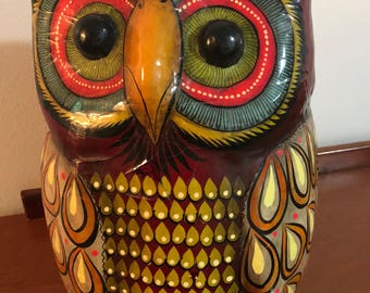 HUGE 70s Mexican Paper Mache OWL Folk Art Sermel Bustamante 60s Mid Century