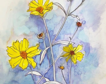 Pretty Little Weeds : Fine Art Print from alcohol ink painting