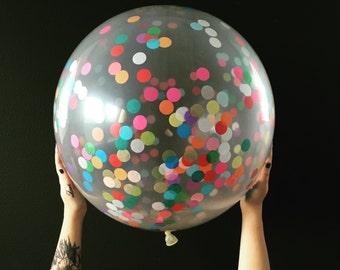 SALE / Clear 36 inch Round Confetti Party Balloon / baby shower decorations / bar bat mitzvah / gender reveal / purim /rainbow decor