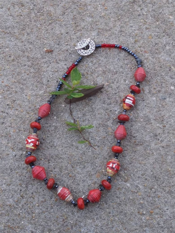 Red jasper and haitian paperbead necklace/ sterling silver