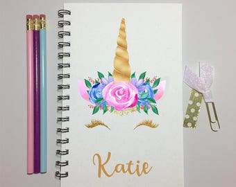 Unicorn, Unicorn Journal, Gold, Bullet Journal, Notebook, Journal, Unicorn Gift, Gift, Personalized, Sketchbook, Writing, Party Favor, kids