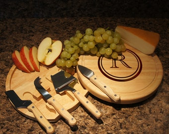 """Personalized Cheese Board and Tool Set with Monogram Options & Engraved Font Selection (Each - 10"""" Diameter) Wedding Gift"""