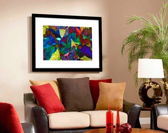 Colorful Wall Art, Living Room Wall Art, Office Wall Art Print, Abstract Art Print, Mosaic Art Print, Abstract Wall Art, Abstract Wall Decor