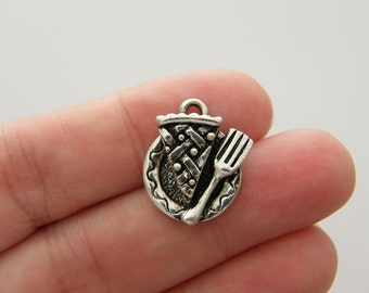 BULK 20 Slice of pie on a plate charms antique silver tone FD142