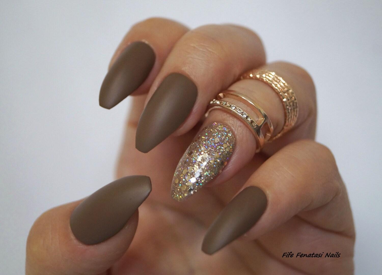 Dark Nude matte coffin Nails, Stiletto nails, Fake nails, Kylie ...