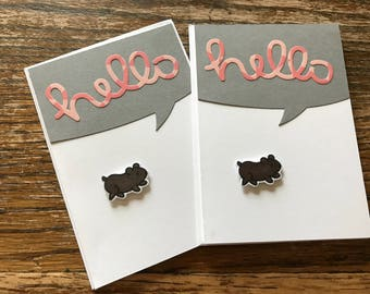 Hamster card, hello greeting card, hello card, greeting card set, hamster lovers, gift for animal lover, handmade greeting card, hello mail